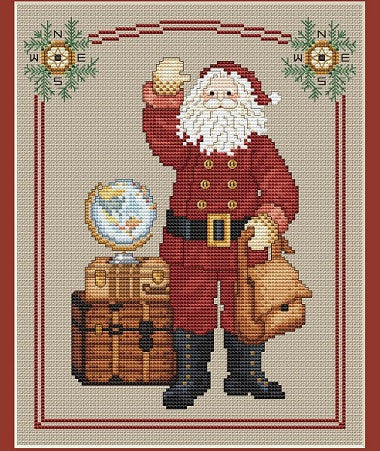 Sue Hillis Designs ~ Traveling Santa