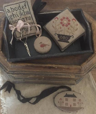 Stacy Nash Primitives ~ Farmhouse Sampler Pinkeep, Pin Disk, Scissor Fob & Needle Book