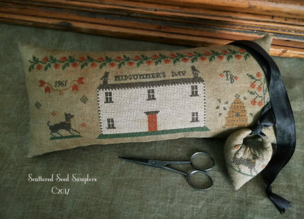 Scattered Seeds Samplers ~ Midsummer's Day Tailor's Roll & Needlekeep