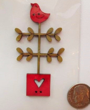 Hand Painted Buttons - Twig Heart Tree