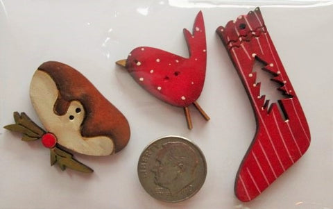 Hand Painted Buttons - Pudding, Stocking, Redbird