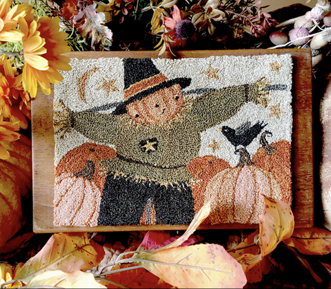 Teresa Kogut ~ Happy Scarecrow Punch Needle w/fabric