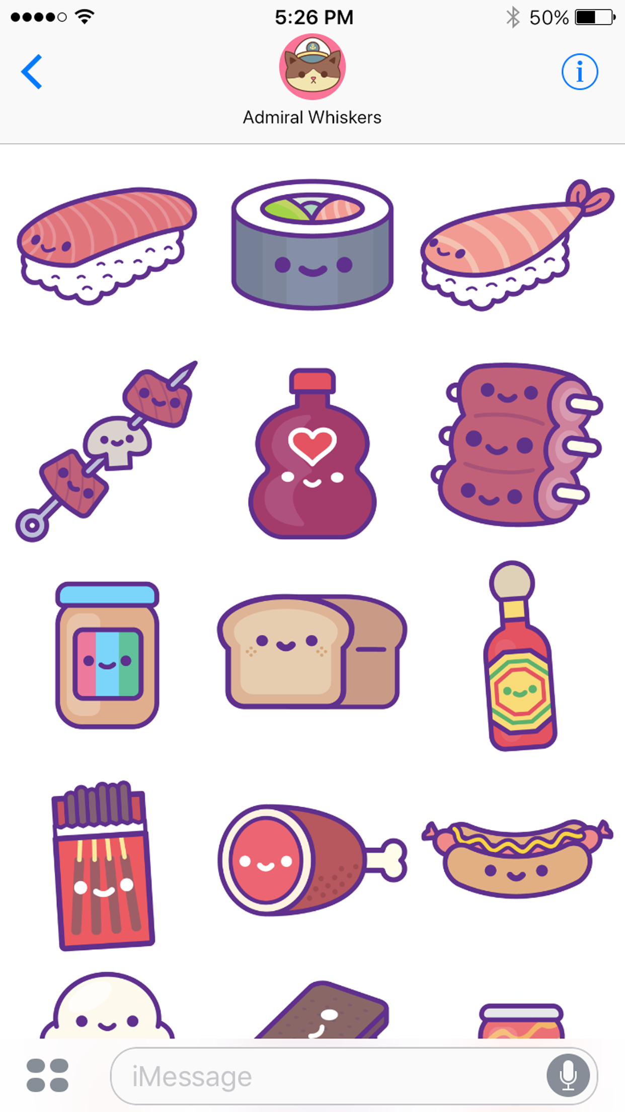 kawaii food party ios stickers 100 soft. Black Bedroom Furniture Sets. Home Design Ideas