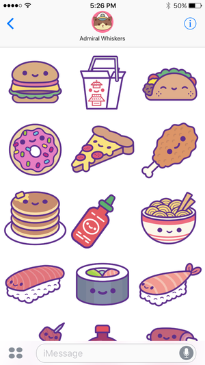Kawaii Food Party iOS Stickers