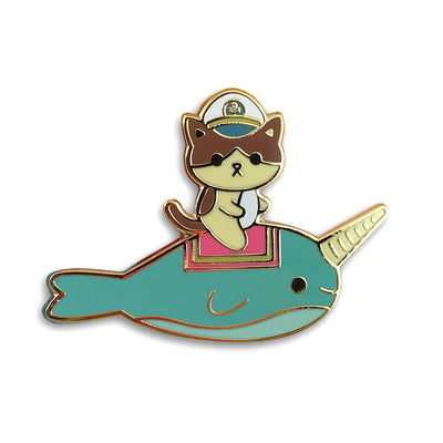 Admiral Whiskers Narwhal Ride Enamel Pin