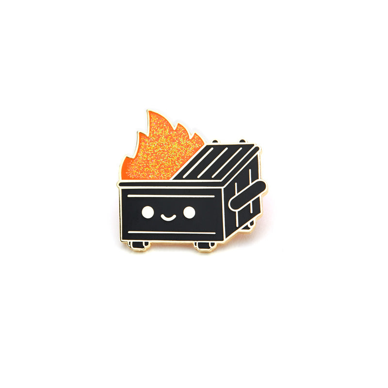 Dumpster Fire Black & Gold Pin