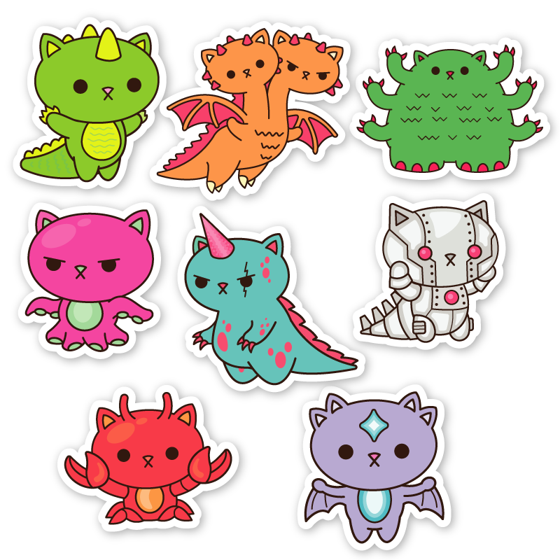 Kaiju Kitties Sticker Pack