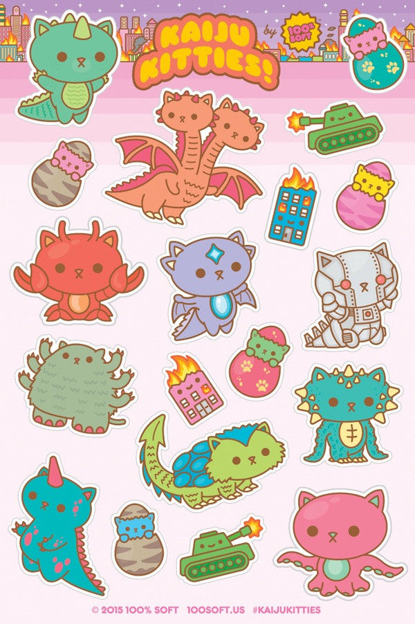 Kaiju Kitties Sticker Sheet