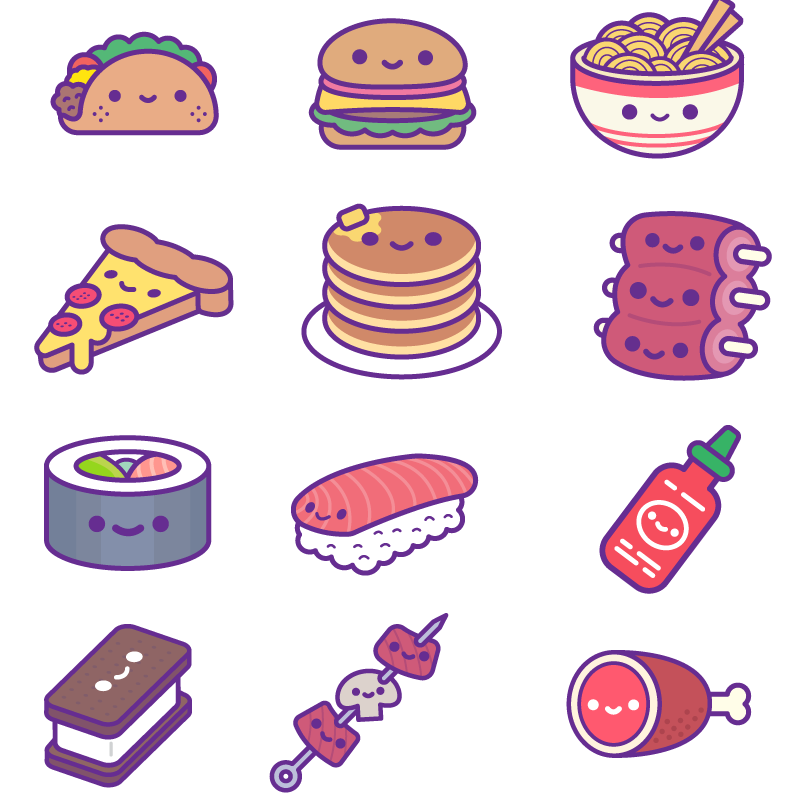 Soft Cat Food >> Kawaii Food Party iOS Stickers - 100% Soft