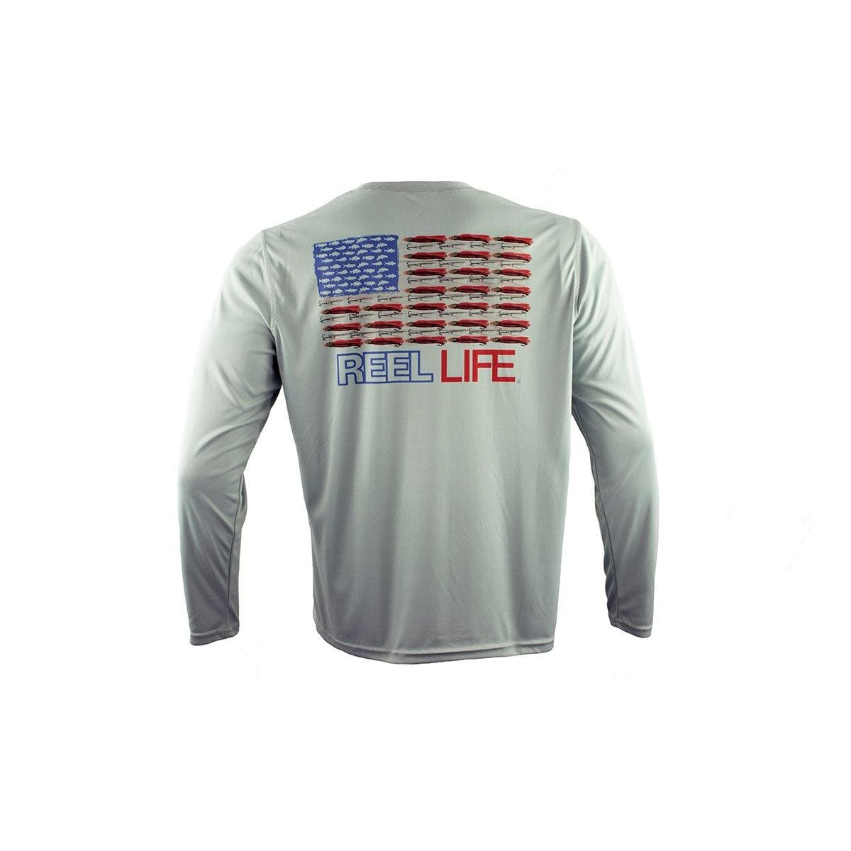 "Reel Life Men's Long Sleeve UV ""Merica"" - High Rise Grey"