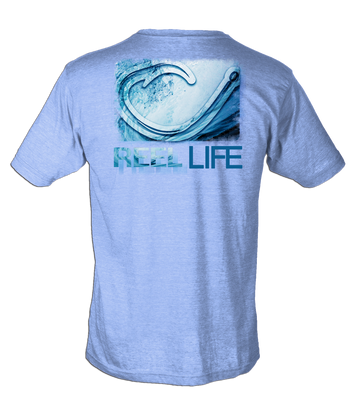 Men's Circle Hook Wave Tee - Heather Blue