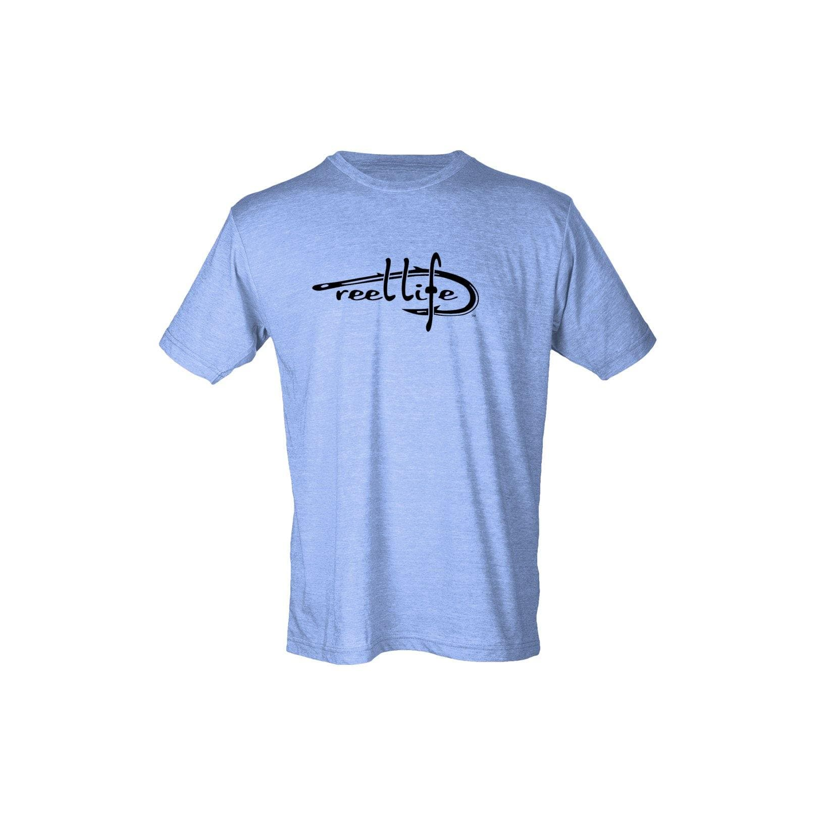 Reel Life Men's Short Sleeve Tee Classic Logo - Heather Blue