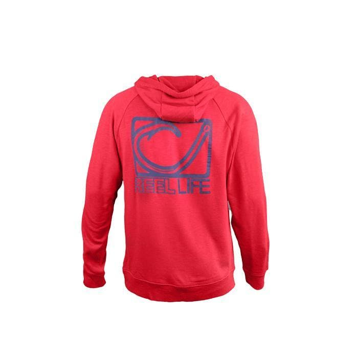 Men's Circle Hook Reel Life Logo Pocket Fishing Hoodie - Red