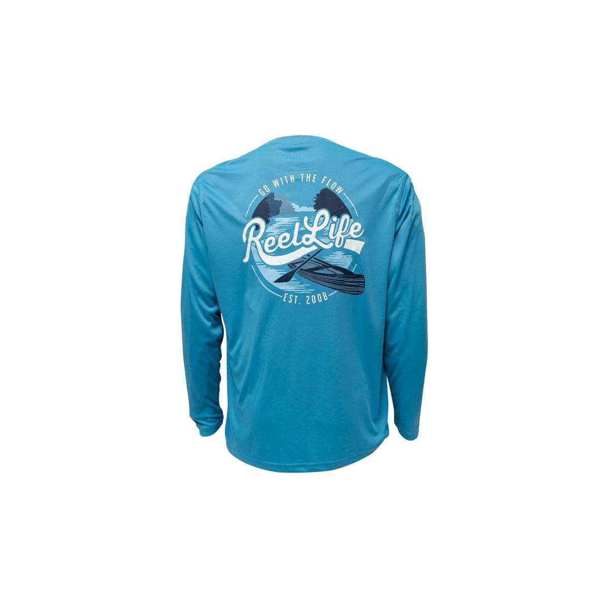 "Reel Life Men's Long Sleeve UV ""Go with the Flow River"" - Reel Life"
