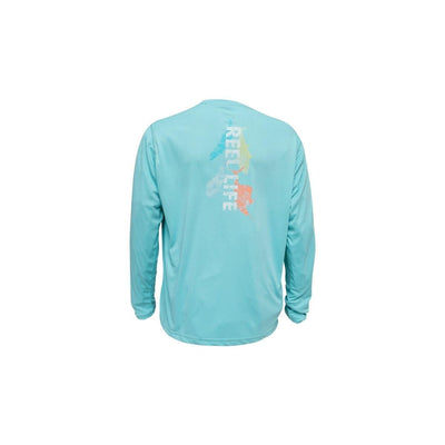 "Reel Life Men's Long Sleeve UV ""Watercolor Pelagic"" - Angel Blue"