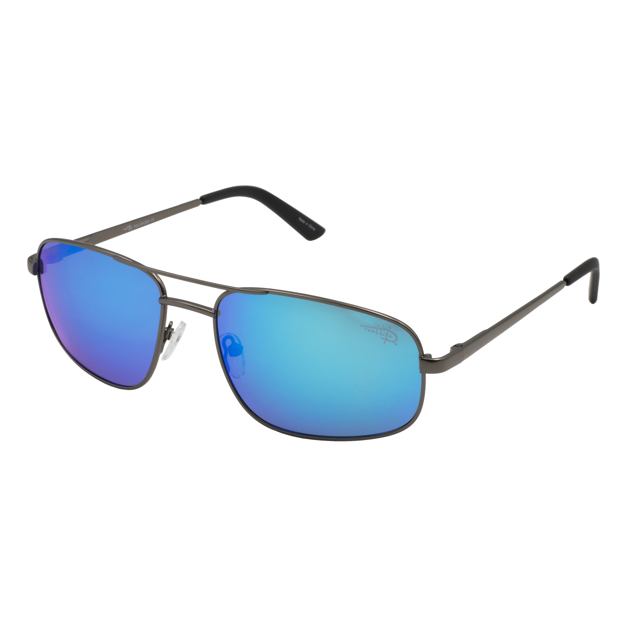 De Soto 005P -  Polarized Blue Mirror Lens Sunglasses - Reel Life