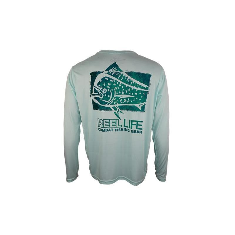 "Reel Life Men's Long Sleeve UV ""Combat Mahi"" - Seagrass Green - Reel Life"