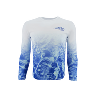 Men's Performance White Blue Waters Fade Shirt