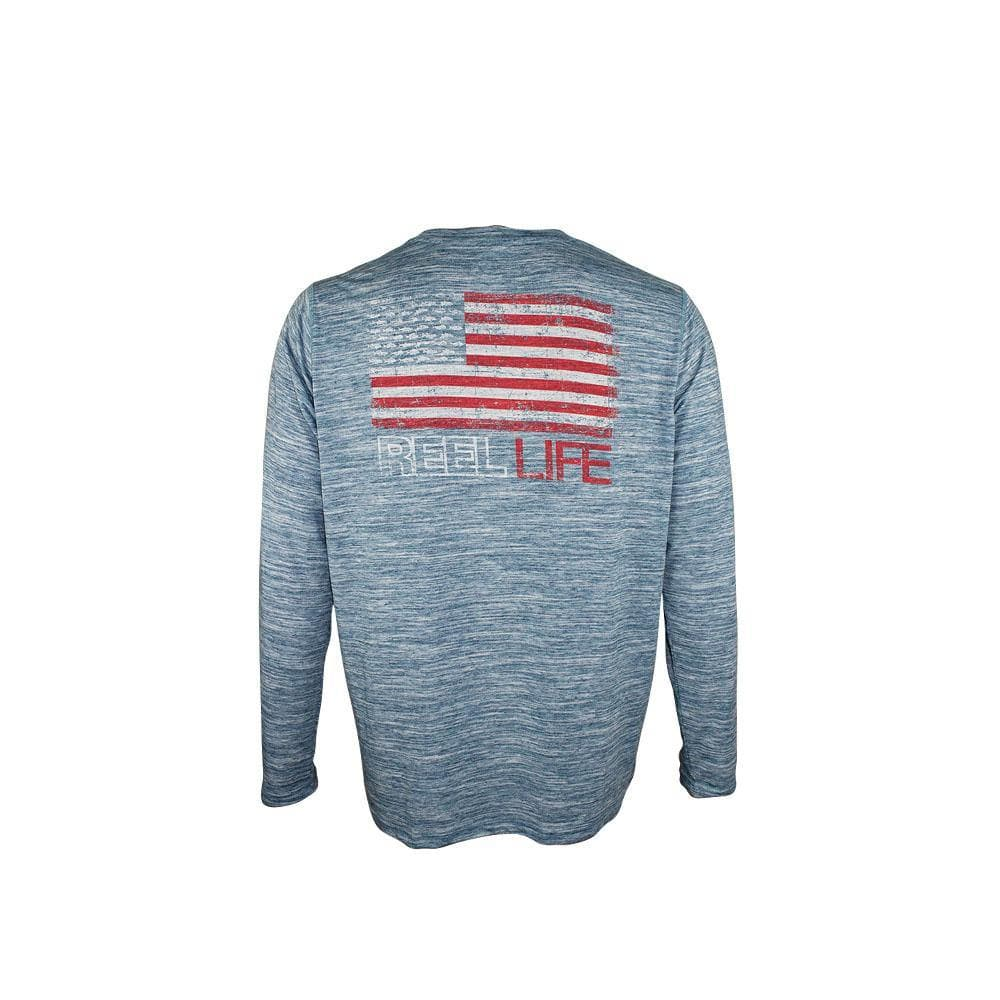 "Reel Life Men's Long Sleeve Coastal Performance ""Fishin' Merica Grunge"" -Real Teel"