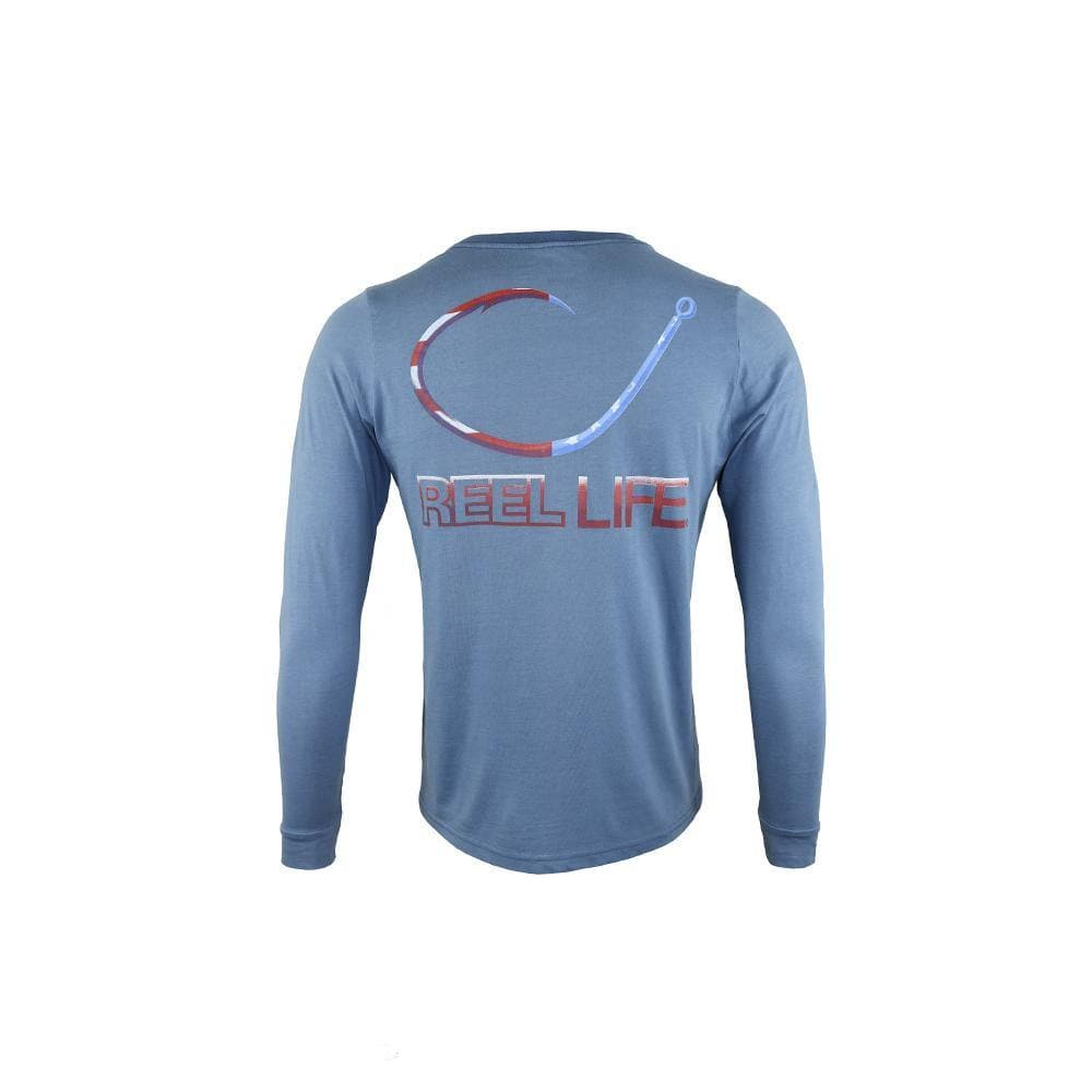 "Men's Long Sleeve Tee ""Freedom Circle Hook"" - Reel Life"