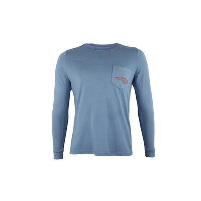 "Reel Life Men's Long Sleeve Pocket Tee ""Freedom Circle Hook"" - Real Teal"