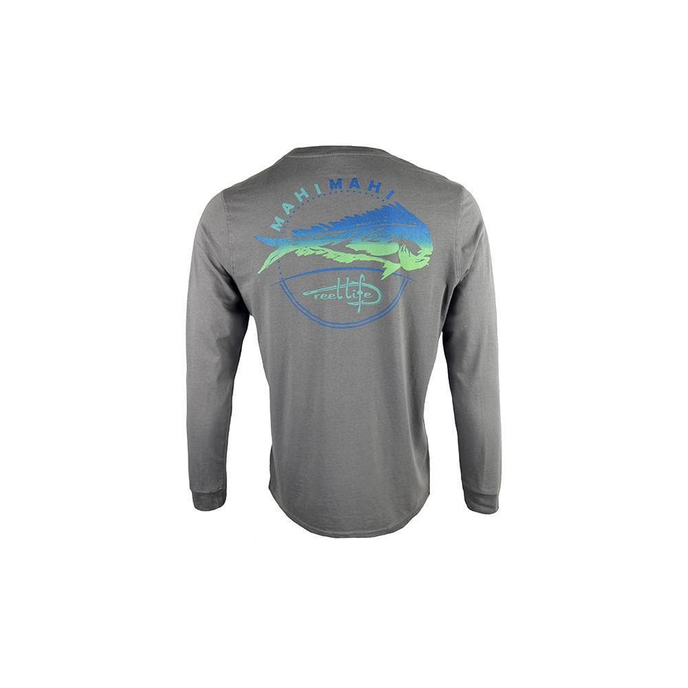 "Reel Life Men's Long Sleeve Pocket Tee ""Southern Mahi"" - Silver Filigree"
