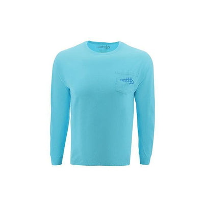 "Reel Life Men's Long Sleeve Pocket Tee ""Raised On The Water Vintage Circle"" - Teal"