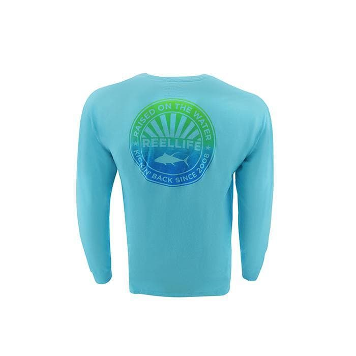 "Men's Long Sleeve ""Raised On The Water Vintage Circle"" Pigment Dyed Graphic Tee"