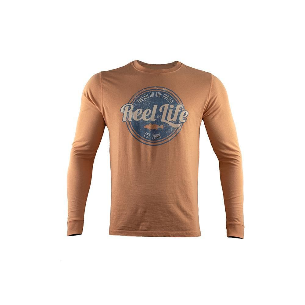 "Reel Life Men's Long Sleeve Tee ""Raised Water"" - Cantaloupe"