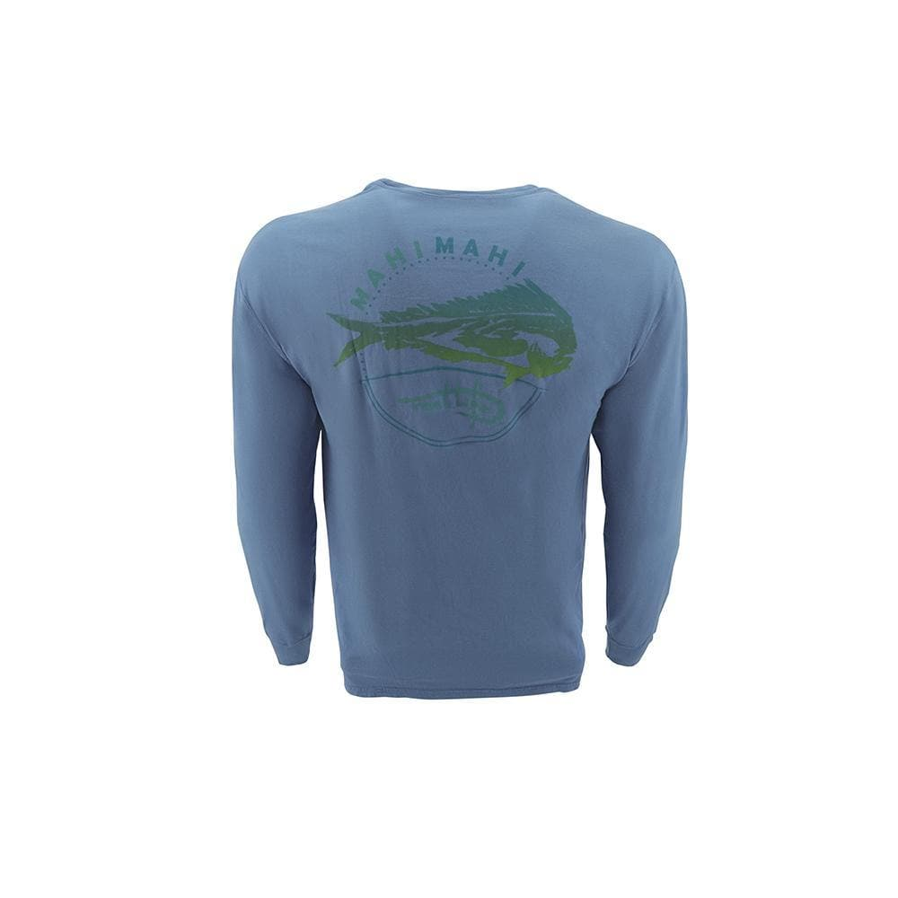 "Reel Life Men's Long Sleeve Pocket Tee ""Southern Mahi"" - Real Teal"