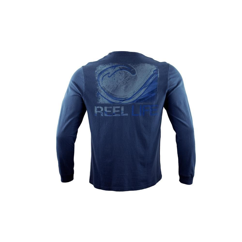 "Reel Life Men's Long Sleeve Pocket Tee ""Wave Circle Hook"" - Real Teal"