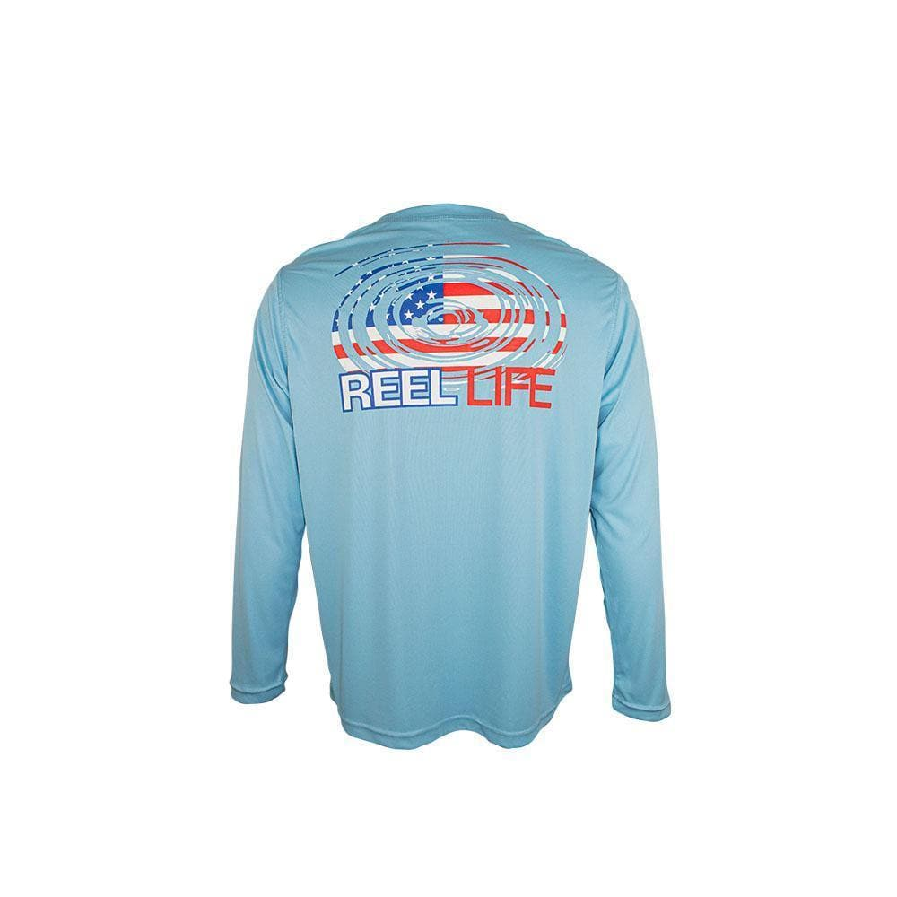 "Reel Life Men's Long Sleeve UV ""Americana Ripple Flag"""