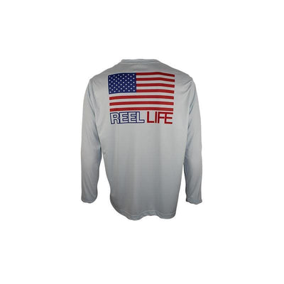 "Reel Life Men's Long Sleeve UV ""Americana Scales Flag"""