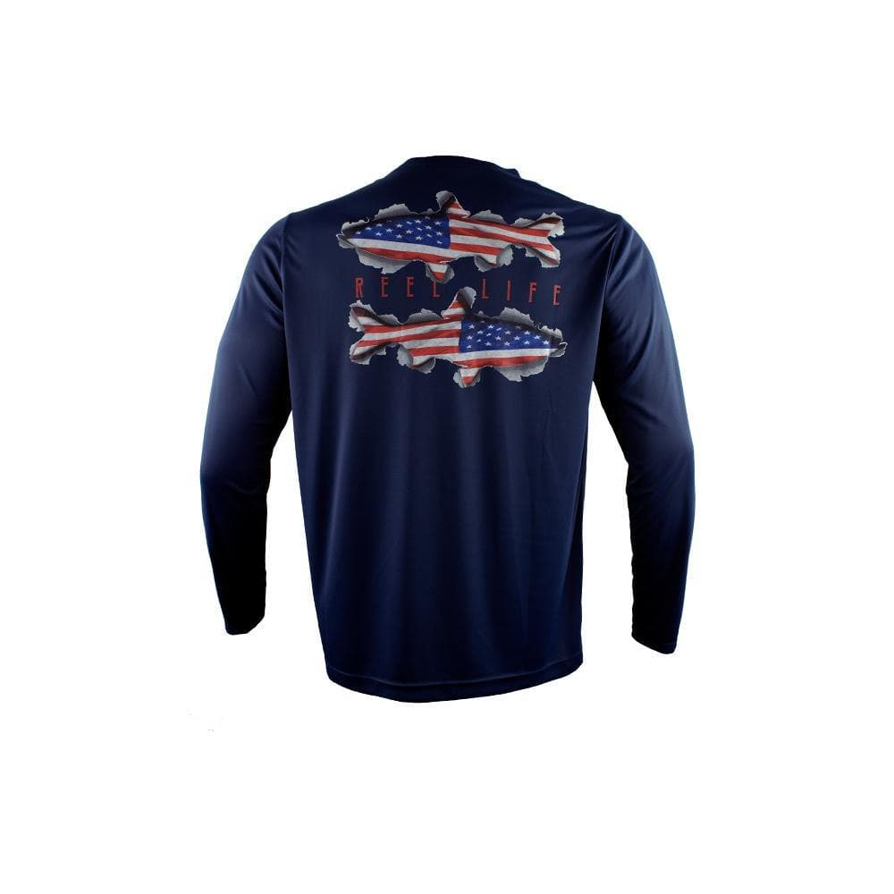 "Reel Life Men's Long Sleeve UV ""Americana Twin Fish"" - Dress Blue"