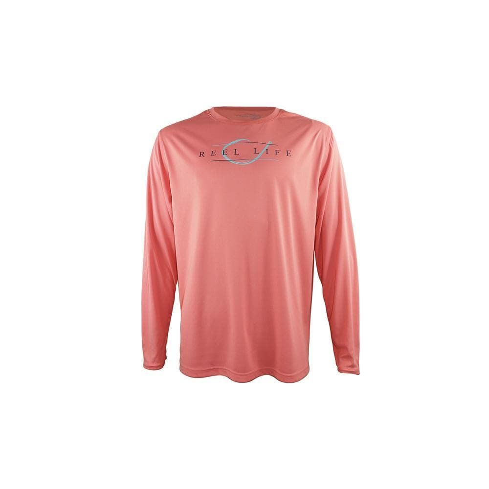 "Reel Life Men's Long Sleeve UV ""Classy Hook""- Shell Pink"