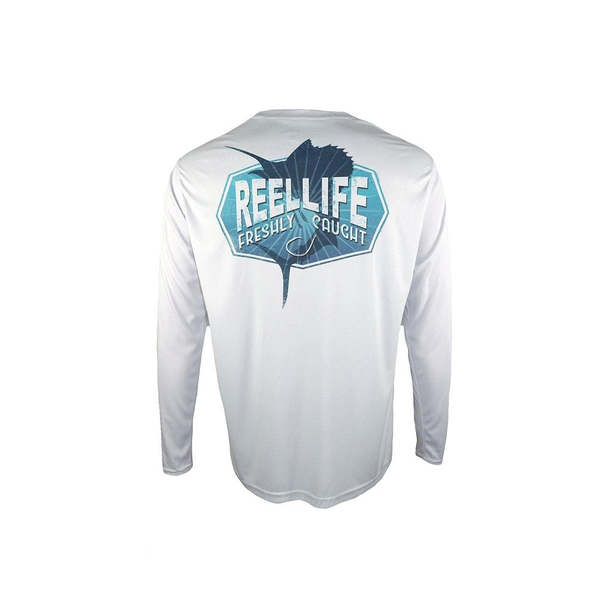 "Reel Life Men's Long Sleeve UV ""Freshly Caught Sailfish""- White"