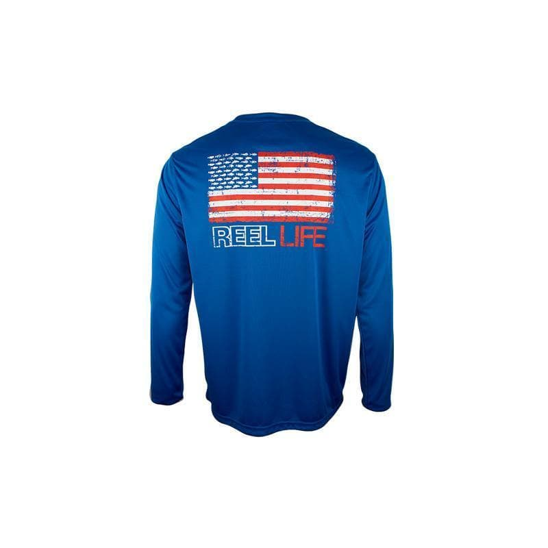 "Reel Life Men's Long Sleeve UV ""Fishing Merica Grunge"""