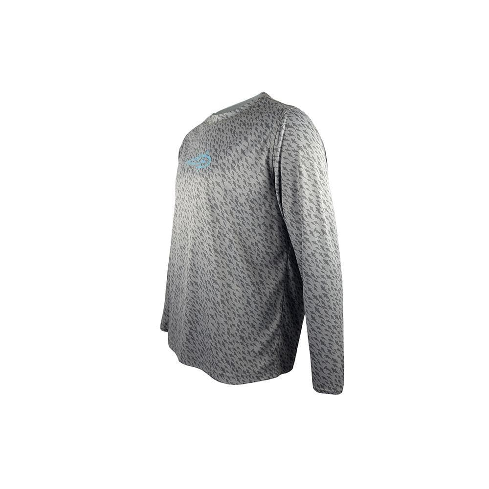 "Reel Life Men's Long Sleeve UV ""Fish Swirl AOP"" - Silver Filigree"