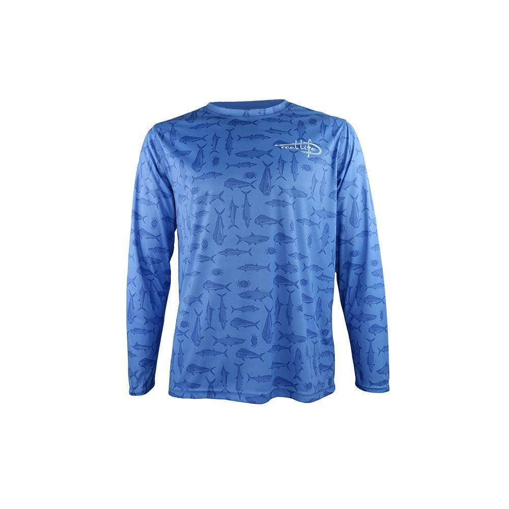 "Reel Life Men's Long Sleeve UV ""Fishin All Over Print"" - Blue"