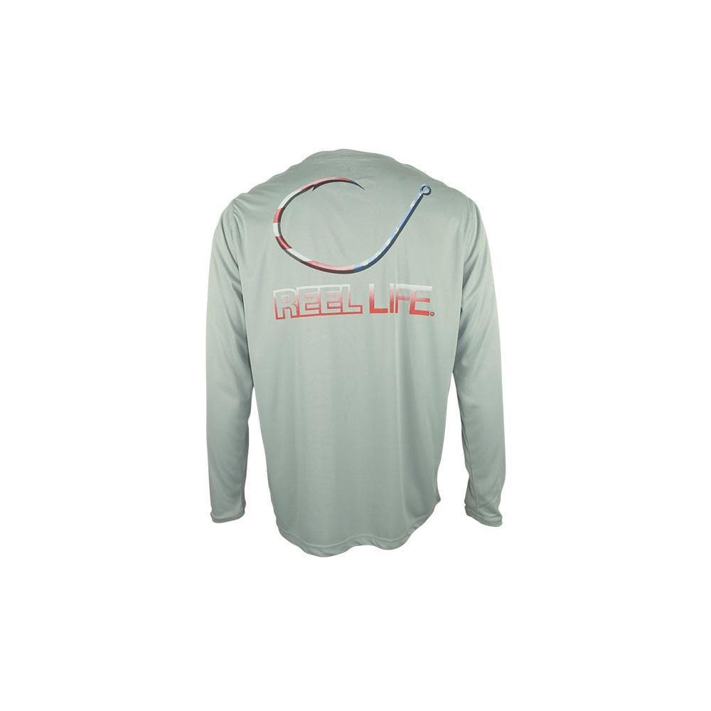 "Reel Life Men's Long Sleeve UV ""Freedom Circle Hook""- High Rise Grey"