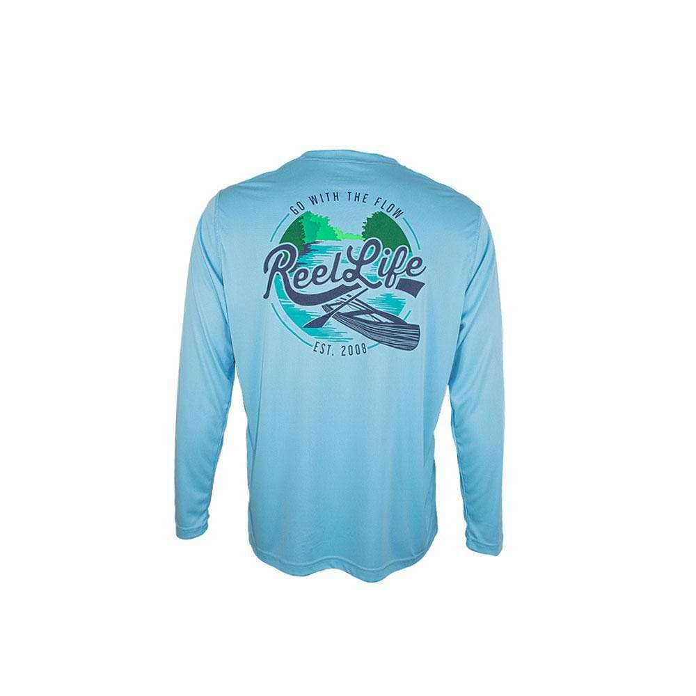 "Reel Life Men's Long Sleeve UV ""Go with Flow River"" - Reel Life"