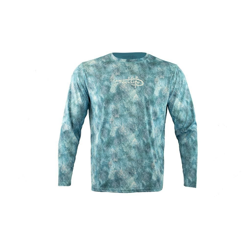 "Reel Life Men's Long Sleeve UV ""Hook Grunge Scales AOP"" - Blue Teal"