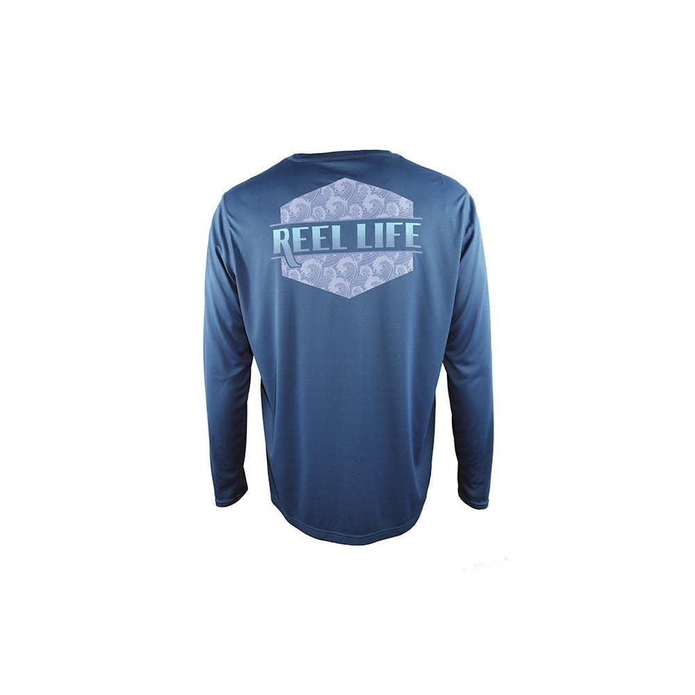 "Reel Life Men's Long Sleeve UV ""Japanese Barrel Curl""- Real Teal"