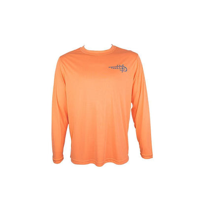 "Reel Life Men's Long Sleeve UV ""Livin' the Rod and Reel Life Scales""-Cantaloupe"