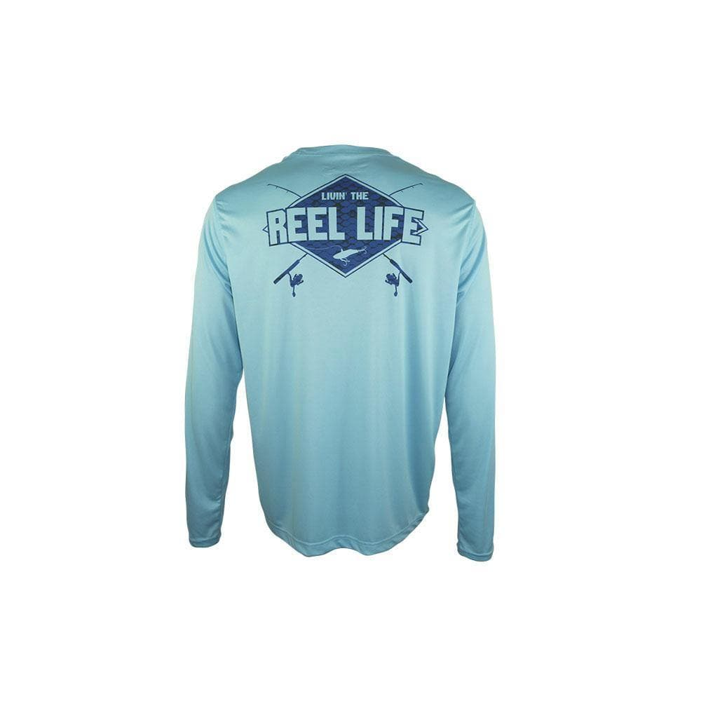 "Reel Life Men's Long Sleeve UV ""Living the Rod and Reel Life Scales"" - Sky Blue"