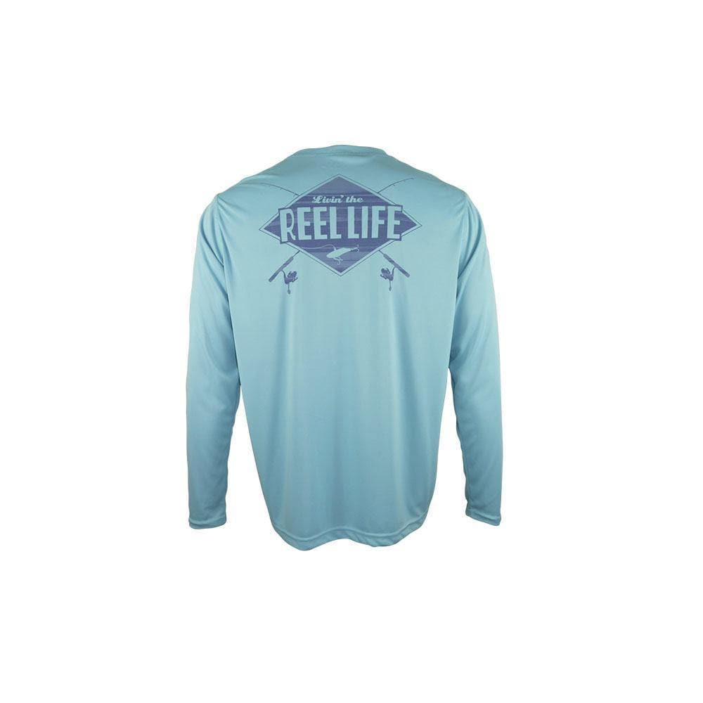 "Reel Life Men's Long Sleeve UV ""Livin Rod N Reel Life (V2)"" - Sky Blue - Reel Life"