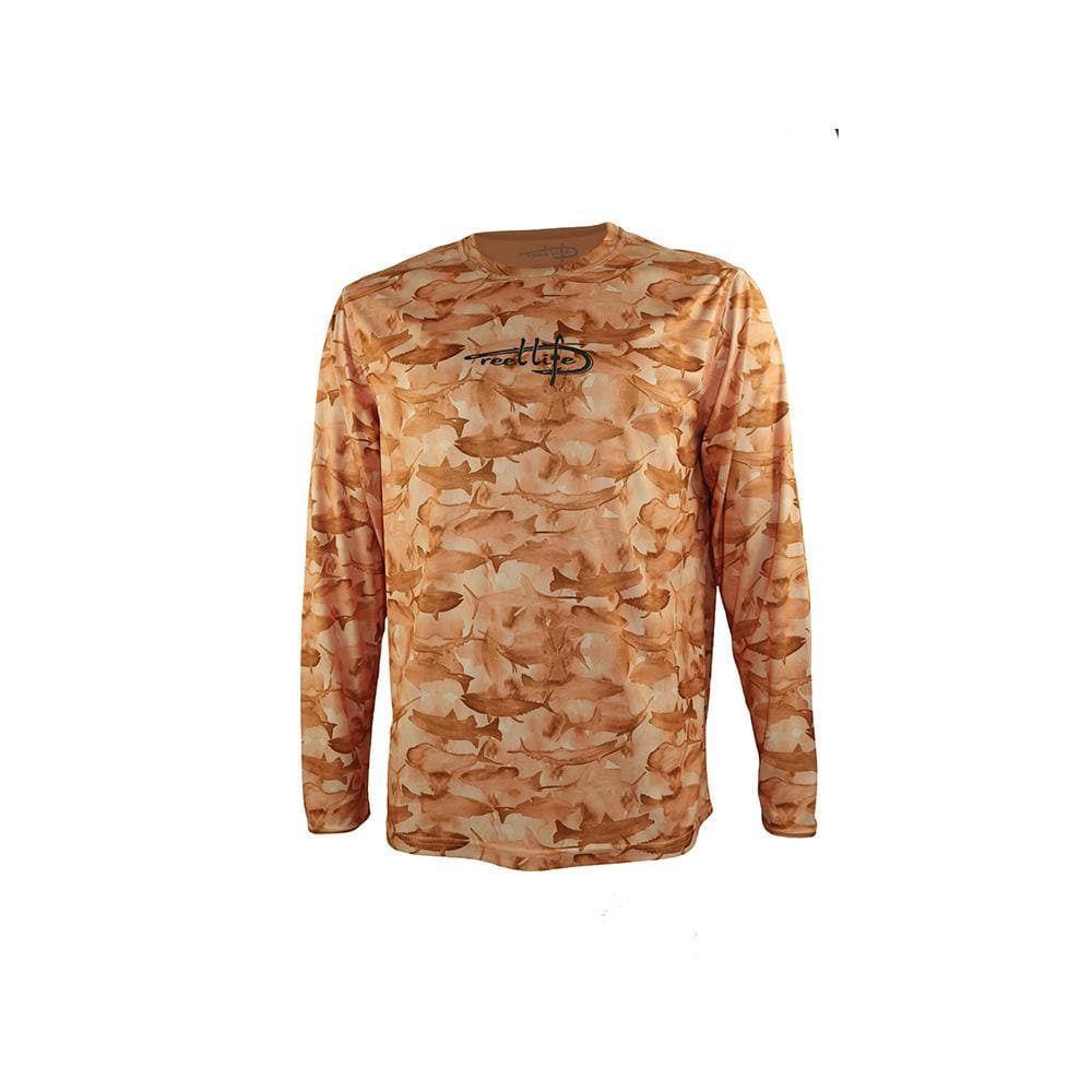"Reel Life Men's Long Sleeve UV ""Many Fish Watercolor AOP""- Cantaloupe"
