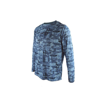 "Reel Life Men's Long Sleeve UV ""Many Fish Watercolor"" - Real Teal"