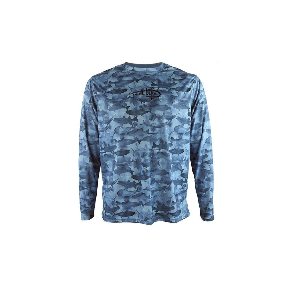 "Reel Life Men's Long Sleeve UV ""Many Fish Watercolor"" - Real Teal - Reel Life"