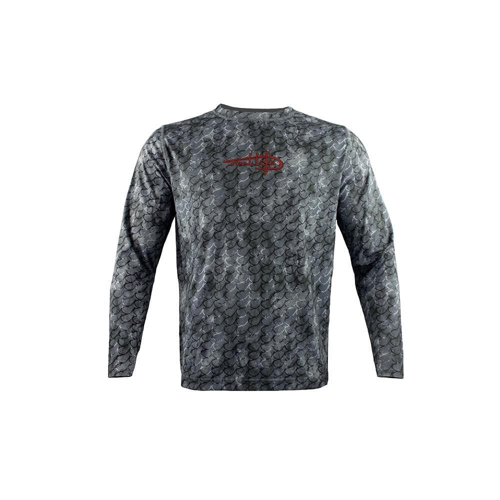"Reel Life Men's Long Sleeve UV ""Marbled Hook AOP"" - Dark Grey"